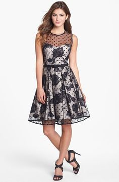 Eliza J Illusion Dot Print Fit & Flare Dress | Nordstrom