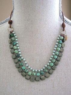 etsy handmade african jewelry   Boho statement necklace. African turquoise by ...   handmade jewelry