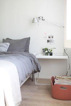 Grey linen bedroom