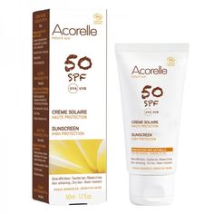 Crème Solaire Visage Bio SPF 50 Acorelle Exfoliant, Sunscreen, 50th, Bottle, Service, Cancer, Ozone Layer, Clear Skin