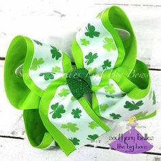 Handmade Girls St Paticks Hair  Bow Bobble Small Korkers Sold In Pairs