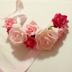 DIY Fake Pink and Cream Flower Crown