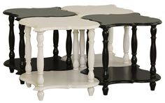 Set of four tables, Turned legs, One stationary shelf per table, One Year Limited Manufacturer Warranty