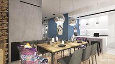 interior design ~ two-storey apartment in Krakow with mezzanine Krakow, Conference Room, Dining Table, Behance, Interior Design, Furniture, Home Decor, Mezzanine, Nest Design