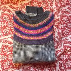 Cozy sweater Super warm sweater, grey and white knit work with a multi colored design across neck line. Perfect for colder climates. I'm always willing to negotiate, so send an offer my way or bundle and save some moolah. Mossimo Supply Co Sweaters Crew & Scoop Necks