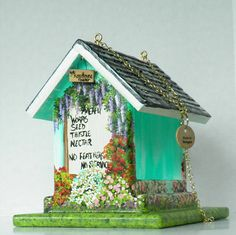 Turquoise Hand Painted Bird Feeder , Handmade and very Colorful