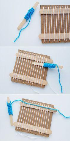 Ruler Crafts, Twig Crafts, Craft Stick Crafts, Yarn Crafts For Kids, Weaving Loom Diy, Weaving Art, Weaving For Kids, Weaving Projects, Crafty Kids