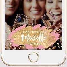 Gold  & Pink Paint Confetti Custom Birthday Snapchat Geofilter   Snapchat Filter   Birthday Geofilter   Wedding Geofilter