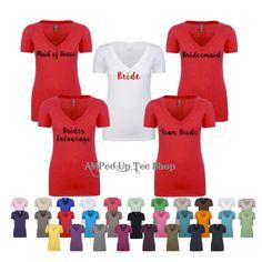 Bridesmaid Vneck Shortsleeve Shirts, Bride Shirt, Bride Tank Top, Bridesmaid Shirt, Bridal Party Shirts, Bachelorette by AMPedUpTeeShop on Etsy