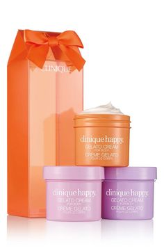 An indulgent trio of Clinique Happy Gelato Body Creams, presented in a giftable box. Gelato, Clinique Happy, Rainbow Spa, Makeup Gift Sets, Health And Beauty Tips, All Things Beauty, Creme, Skin Care, Body Creams