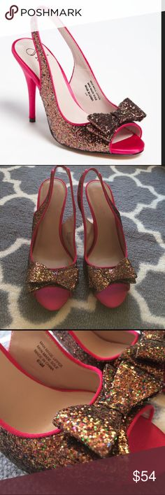 Flounce glitter bow open toe heels like Kate Spade Flounce glitter bow open toe heels...the look a lot like Kate Spade ones that are 300$. Bought from Nordstrom and worn once. In great condition with minimal signs of wear. Size 6.5 and fit true to size. Copper color glitter with many other colors in it. Pink satin heel and toe and trim. Beige sole. Heel is 4 inches and not wobbly in my opinion💪🏽Elastic at back heel area. Toe area is comfy. Perfect for summer weddings🌺💚💃Questions just…