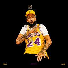 King Nip wearing King Kobe's Throwback Jersey. In Loving Memory of 2 Kings of LA. Dope Cartoons, Dope Cartoon Art, Black Cartoon, Tupac Art, Lauren London Nipsey Hussle, Kobe Bryant Pictures, Rapper Art, Hip Hop Art, American Rappers