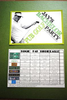 Customized Pub Golf Bachelor Party Score Cards. $110.00, via Etsy.