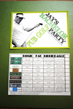 Customized Pub Golf Bachelor Party Score Cards. $110.00, via Etsy.