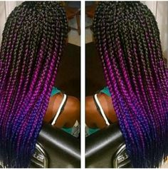 Bix braids. Ombre blue and purple or fuchsia and black