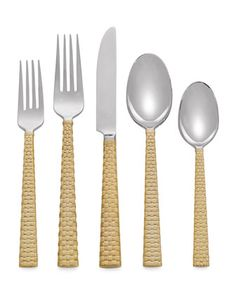5-Piece+Palm+Golden+Flatware+Place+Setting+by+Michael+Aram+at+Horchow.