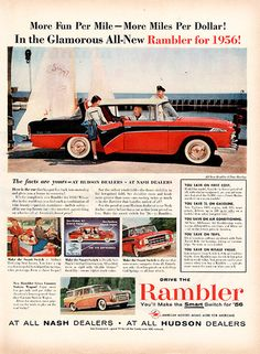 "1956 Rambler Automobile Original Car and Truck Print Ad -An original vintage 1956 advertisement, not a reproduction -Measures approximately 10"" x 13"" to 11"" x 14"" -Ready for matting and framing."