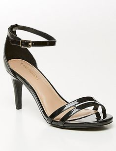 That wows-with-everything heel you've been missing? Here it is in polished patent with a sexy ankle strap. Wide widths. lanebryant.com