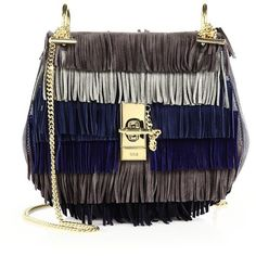 Chloe Drew Small Suede Fringe Shoulder Bag ($2,330) ❤ liked on Polyvore featuring bags, handbags, shoulder bags, apparel & accessories, velvet grey, suede fringe purse, colorful purses, chain strap shoulder bag, gray handbags and chloe handbags