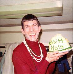 Leonard Nimoy holding a Hobbit hole cake.   That's right.  I said it.