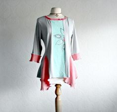 Reconstructed Top Light Gray Women's Tunic Boho Clothes Eco Fashion Peach Pink L