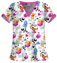 Winnie The Pooh and Tigger Cartoon Scrubs by Cherokee Tooniforms Up in The Air | eBay