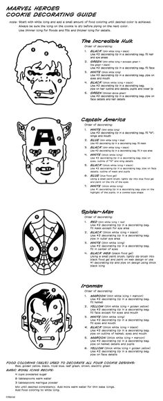Directions for how to appropriately decorate the Marvel Comic characters! :)