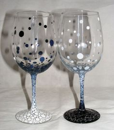 hand painted wine glasses with gradient black and white bubble design