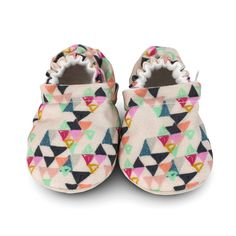 COLORFUL TRIANGLE baby shoes, HOPPER, colorful crib shoes, soft sole shoe