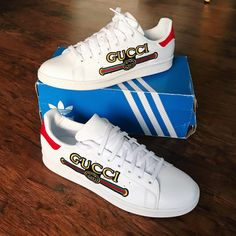 Behind The Scenes By kicks. Custom Sneakers, Gucci Shoes, Adidas Stan Smith, Behind The Scenes, Kicks, Adidas Sneakers, How To Wear, Products, Fashion