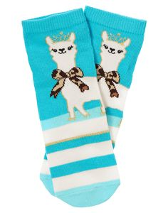 Our colorful knee sock featuring a sweet alpaca princess is made from cotton for softness, nylon for durability and spandex for a good fit.