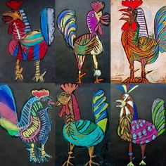 Picasso's Le Coq gradeMESETA ARTE ESTUDIO: LeónRaccoon (Forest Animal) - Inquiry-based learning *Includes lapbook making guide, craft pattern, wor Kids Art Class, Art For Kids, Art Picasso, 3rd Grade Art, Easy Art Projects, Chicken Art, Art Drawings For Kids, Art Courses, Art Lessons Elementary