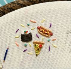 Tiny food embroidery by Embroidery Hoop Art, Hand Embroidery Patterns, Cross Stitch Embroidery, Diy Broderie, Needlework, Creations, Tiny Food, Fashion Patterns, Crafty