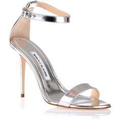 Manolo Blahnik Chaos 105 silver leather sandal ($765) ❤ liked on Polyvore #silveranklestrapsheels