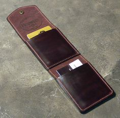 Items similar to Burgundy Cabrio Horween Leather Wallet, Credit Card, Business Card and Cash Case - Perfect for Moms, Dads and Grads! on Etsy Leather Wallet Pattern, Handmade Leather Wallet, Leather Gifts, Leather Pouch, Leather Tooling, Leather Craft, Leather Purses, Leather Projects, Custom Leather