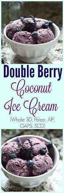 Paleo Double Berry Coconut Ice Cream (Dairy Free, AIP, SCD, GAPS, No Added Sweetener)