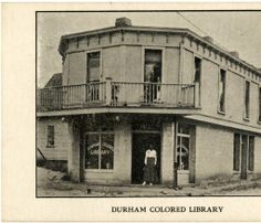 "Postcard: ""Durham Colored Library,"" exterior view of entrance : Library History Collection, NC Digital Collections. North Carolina History, Durham North Carolina, Durham County, Librarians, Black History, American History, Entrance, Coastal, Freedom"