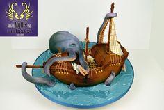 The Kraken - Cake by Cakes For Show Extreme Wedding Cakes, Huge Wedding Cakes, Kraken, Disney Birthday, Birthday Cakes, Octopus Cake, Boat Cake, Beach Themed Cakes, Nautical Cake
