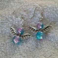 @KyDanJenjewelry Pink & blue glass beaded angel earrings. Don't have pierced ears? No problem! Will convert to clip-ons FOR FREE! from KyDanJenjewelry for $8.00 on Square Market