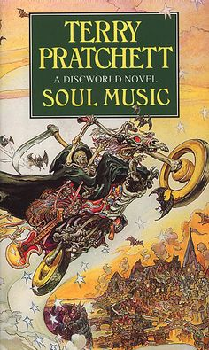 Soul Music (Discworld, book by Terry Pratchett - book cover, description, publication history. Discworld Books, Terry Pratchett Discworld, Beach Reading, Weird Stories, Fantasy Books, Soul Music, Book Cover Design, Book Collection, Cover Art