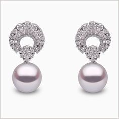 Yoko London White Gold South Sea Pearl and Diamond Earrings, from our Bague. Pearl And Diamond Earrings, Diamond Earing, Pearl Jewelry, Diamond Jewelry, Beaded Jewelry, Amber Earrings, Emerald Diamond, Feather Earrings, Beaded Bracelet