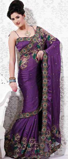 #Purple Jacquard #Saree With #Blouse @ $93.98   Shop Here: http://www.utsavfashion.com/store/sarees-large.aspx?icode=ssx2268