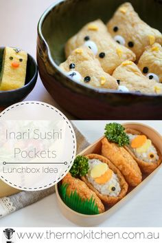 Cute Inari Sushi Pandas are the perfect back to school lunchbox idea. Healthy & delicious. This is a Thermomix recipe which has instructions for making these panda and fish sushi. #Thermomix #backtoschool #sushi #lunchbox