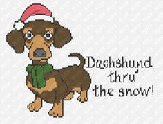 Dachshund Thru' The Snow  Dog Christmas Pattern  Counted