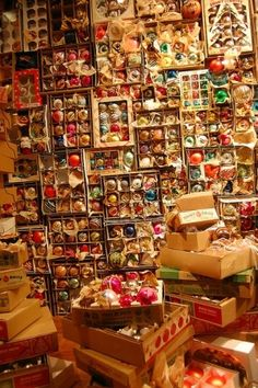 Wall of vintage ornaments in Anthropologie display.  So beautiful it makes my toes curl.