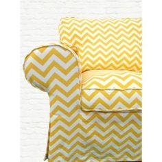 Knesting Sunshine chevron slipcover for IKEA Ektorp chair