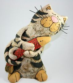 Pottery and Ceramic Cat Sculpture Pottery Cat от GappaPottery