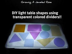 Make your own shapes for the light table. So easy to make, and only costs $1.00