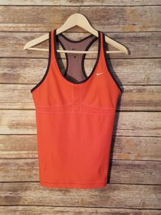 1ffd014a9073 Nike Womens Dri-Fit Orange Racerback Tank Top Built In Support - Size Large