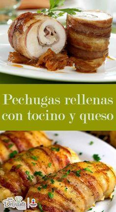 Sorprende a tus amigos con esta receta súper sencilla de preparar. Se trata de unas deliciosas pechugas de pollo rellenas con tocino y queso, que te harán delirar.